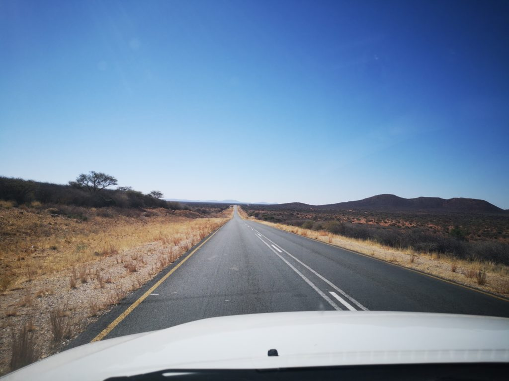 Driving on B1 tarred road from Windhoek to Etosha National Park, Namibia
