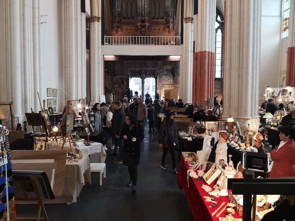 The antique market inside Saint Nicholas' Church, Ghent