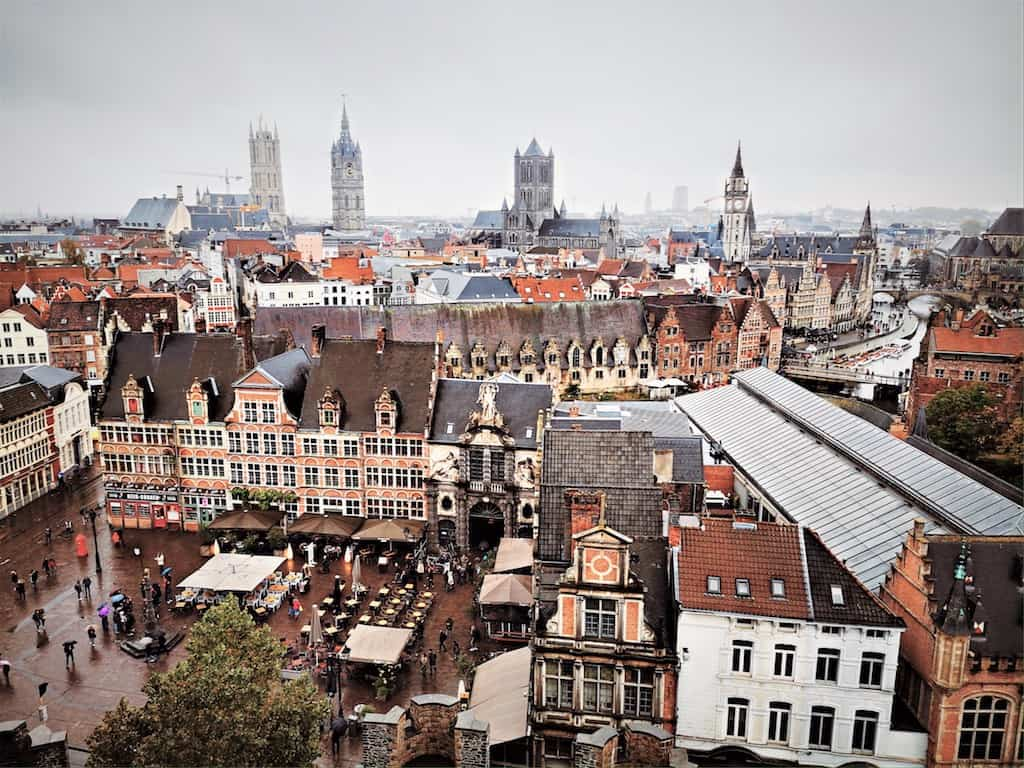 Ghent seen from the top of the Gravensteen castle