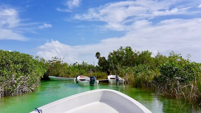 taking a boat ride at Sian Ka'an