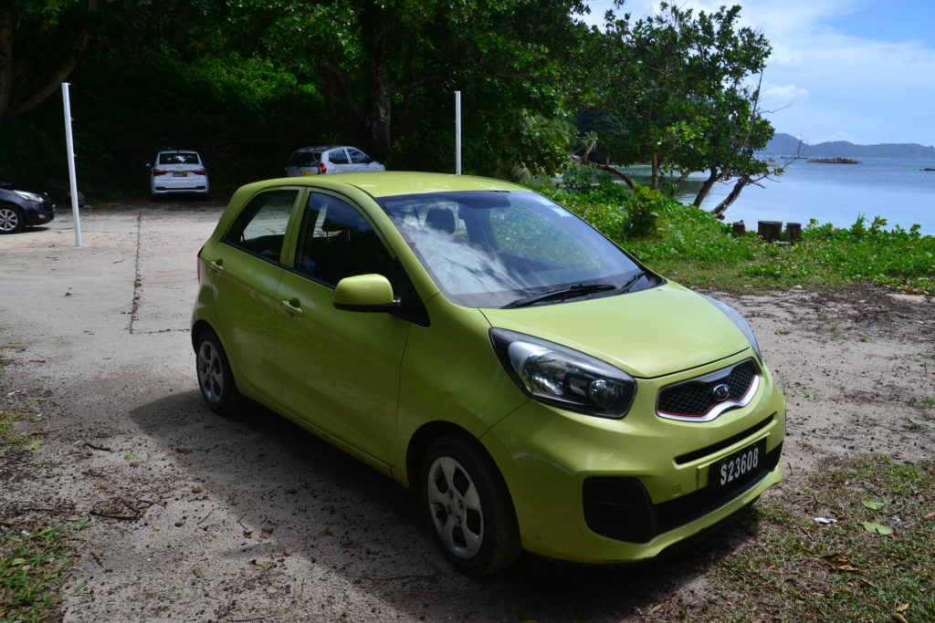 Our rented car in Praslin, a complete guide to praslin island, seychelles