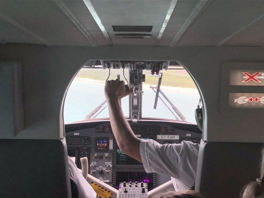 Inside the small Twin Otter aircraft, on our way to Praslin, 10 things to know before visiting seychelles