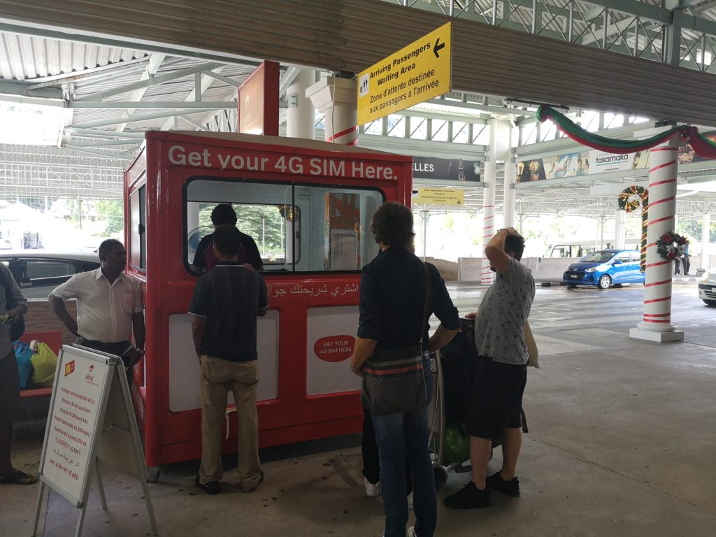 Airtel kiosk outside the arrival hall, Mahé airport, 10 things to know before travelling to Seychelles
