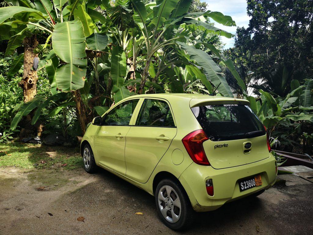Our rented car in Praslin, Seychelles
