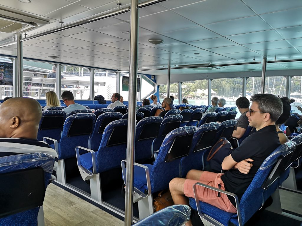 Inside the ferry, from Praslin to La Digue, Seychelles