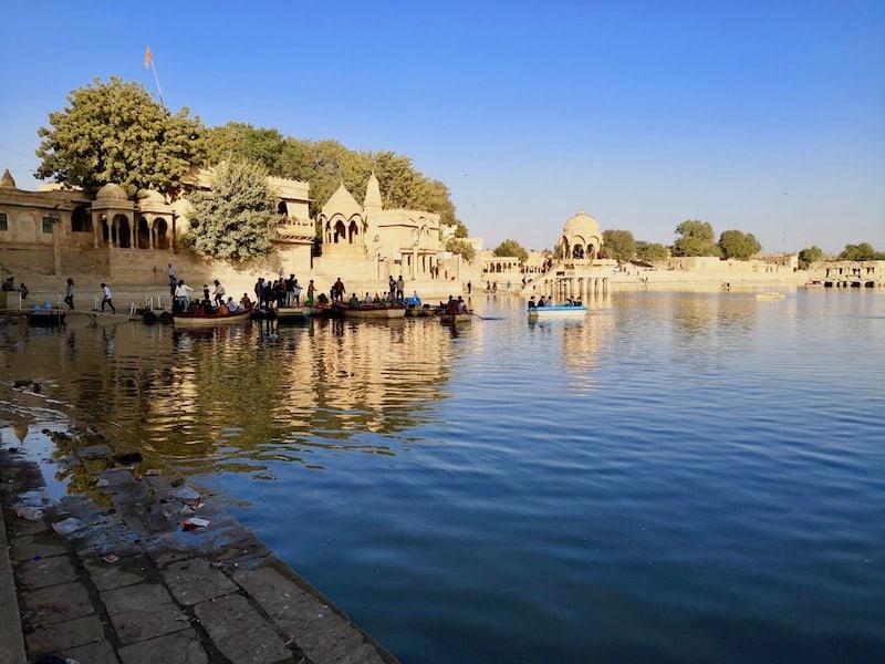 views over Lake Gadsisar in Jaisalmer, India