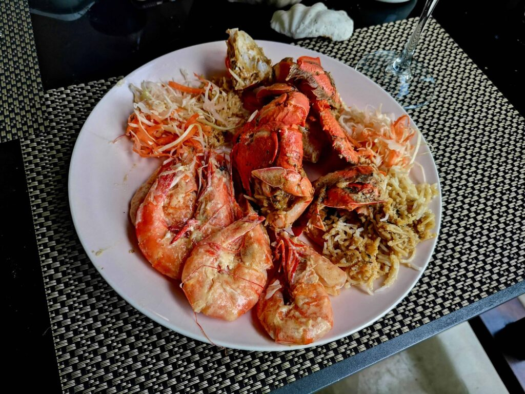 Local crab and local prawns, from Olé Takeaway, Mahé, Seychelles! Delicious!