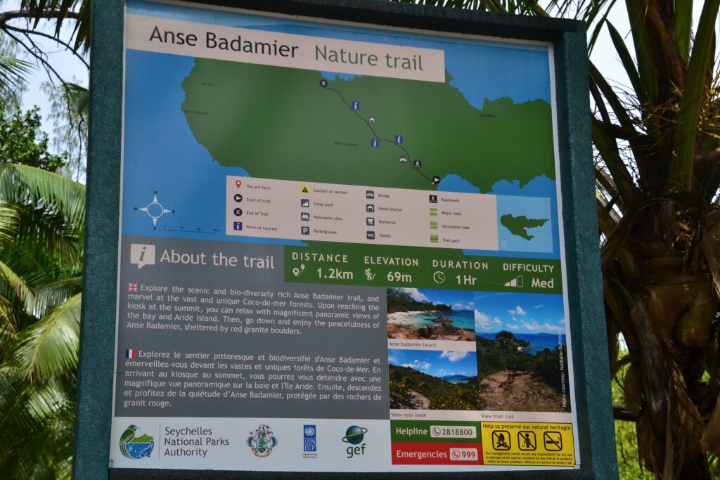 Anse Badamier Nature trail map.
